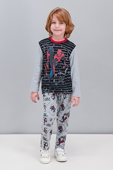 Spider-Man Spider Man Lisanslı Siyah Erkek Çocuk Pijama Takımı Siyah